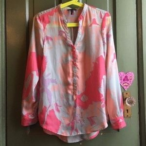 DAISY FUENTES Pink Blue Popover Long Sleeve Blouse